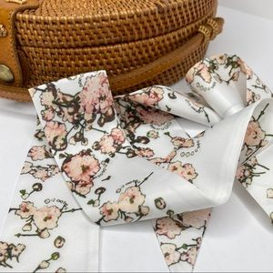 Cherry Blossom Twilly Purse Head Neck Scarf White